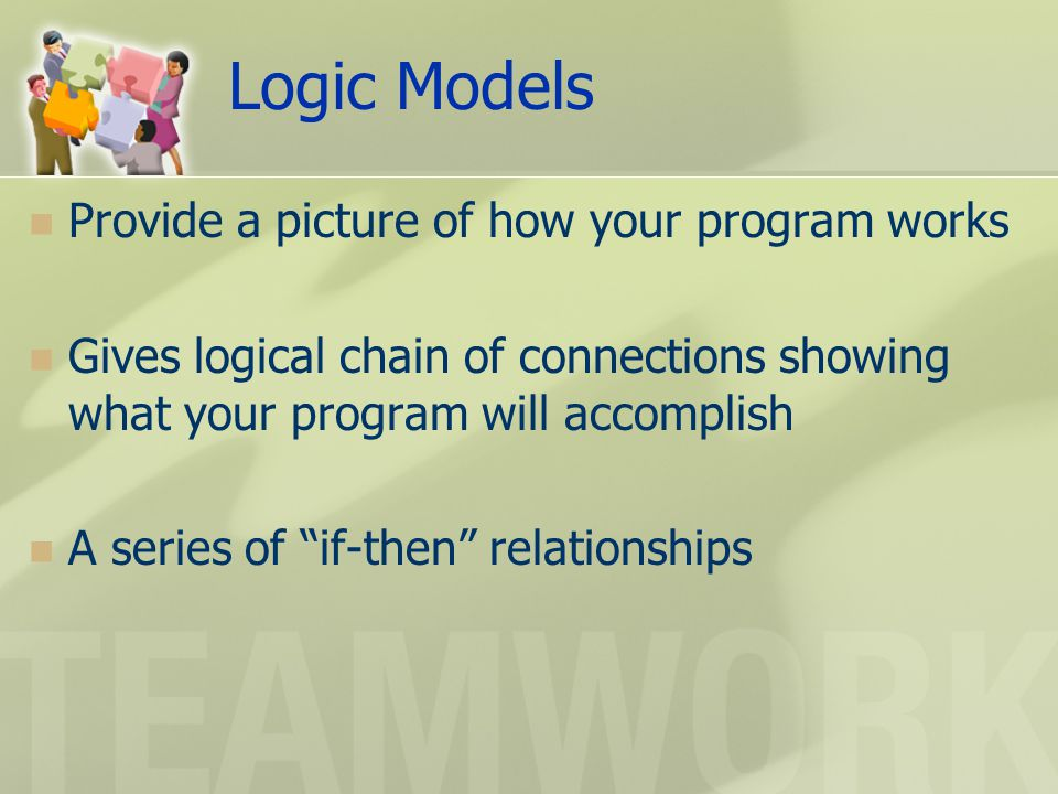Logic Models Provide a picture of how your program works