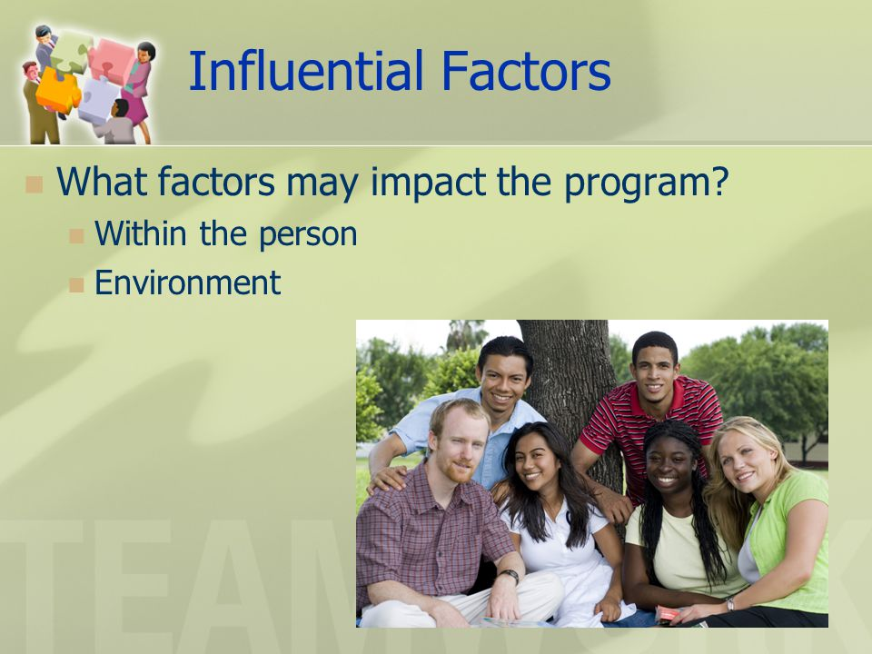 Influential Factors What factors may impact the program