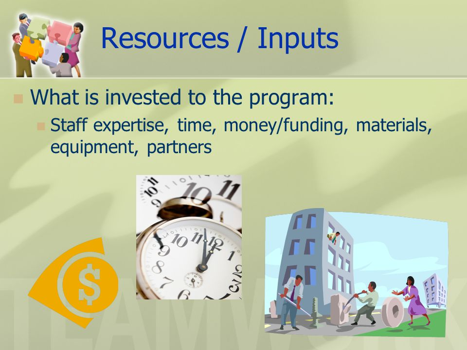Resources / Inputs What is invested to the program: