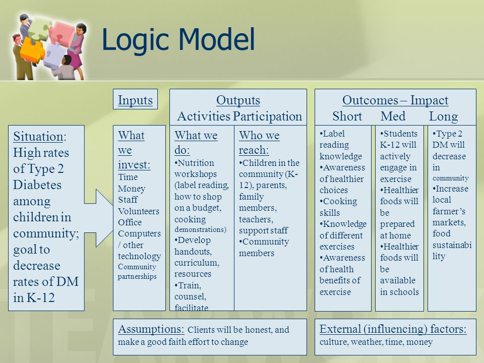 Logic Model Inputs Outputs Activities Participation Outcomes – Impact