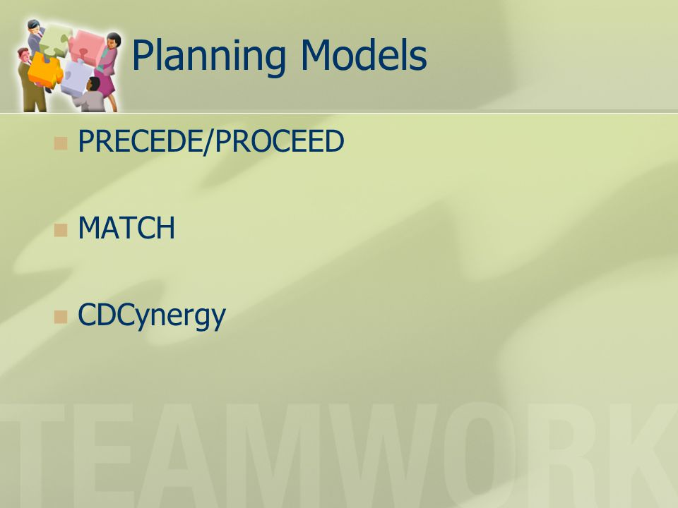 Planning Models PRECEDE/PROCEED MATCH CDCynergy