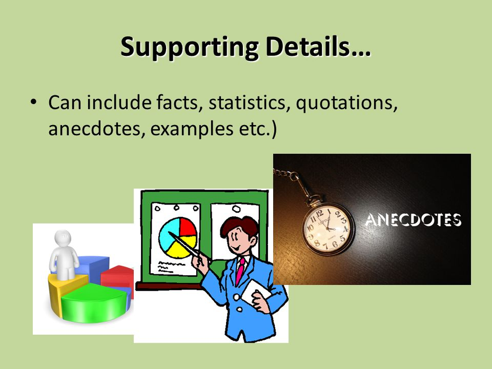 Supporting Details… Can include facts, statistics, quotations, anecdotes, examples etc.)