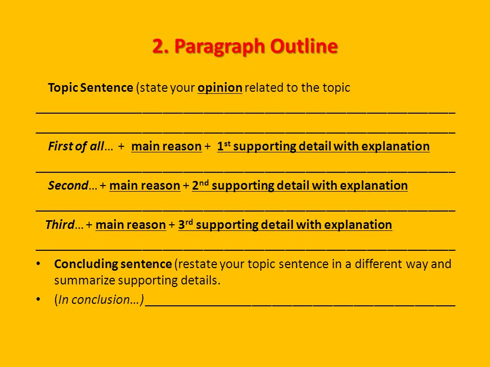 2 paragraph essay outline How to: outlining a research paper note for students: each section, subsection, or paragraph of a detailed outline should be divided into at least 2 parts.