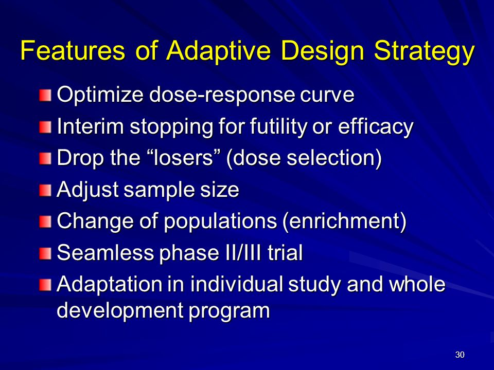 Features of Adaptive Design Strategy