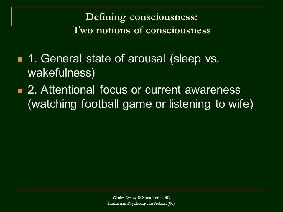 Defining consciousness: Two notions of consciousness