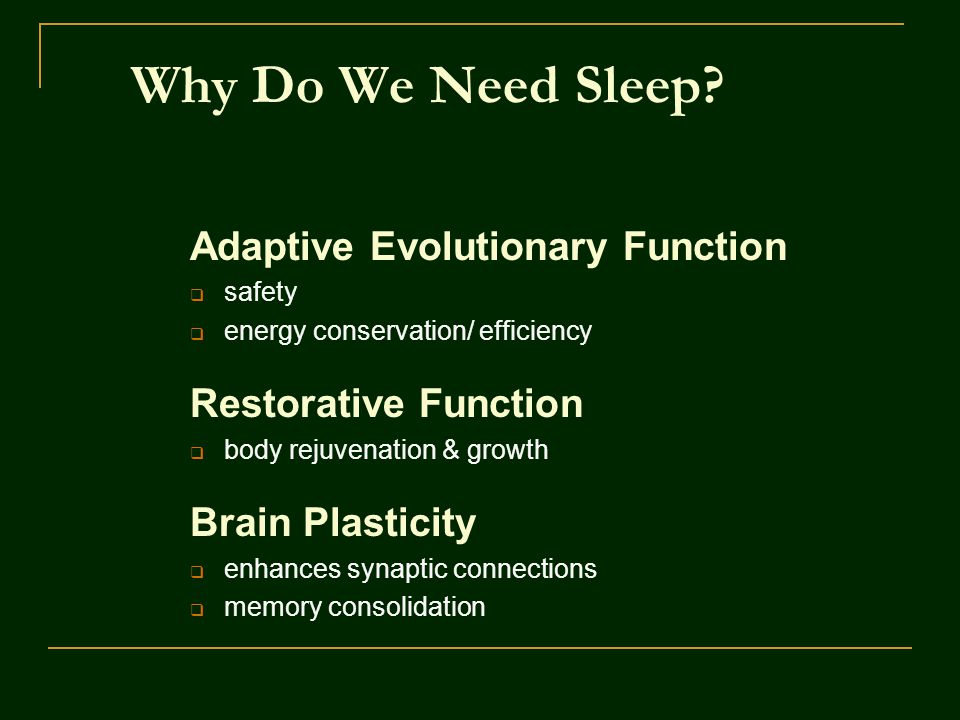 Why Do We Need Sleep Adaptive Evolutionary Function