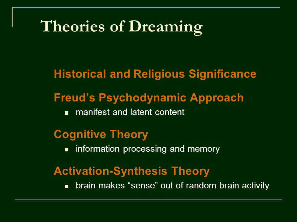 Theories of Dreaming Historical and Religious Significance