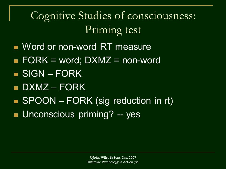 Cognitive Studies of consciousness: Priming test