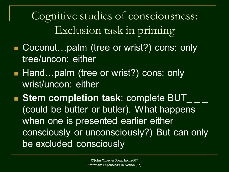 Cognitive studies of consciousness: Exclusion task in priming