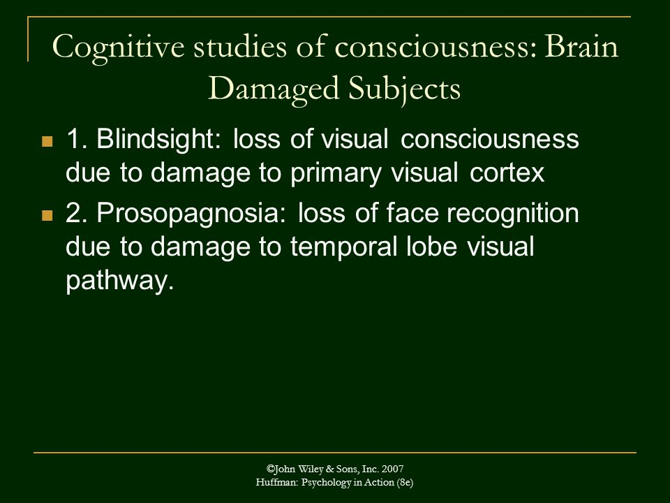 Cognitive studies of consciousness: Brain Damaged Subjects