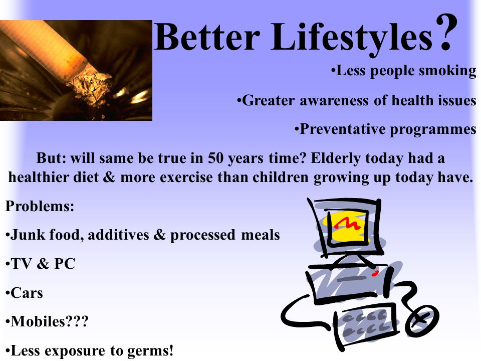 Better Lifestyles Less people smoking