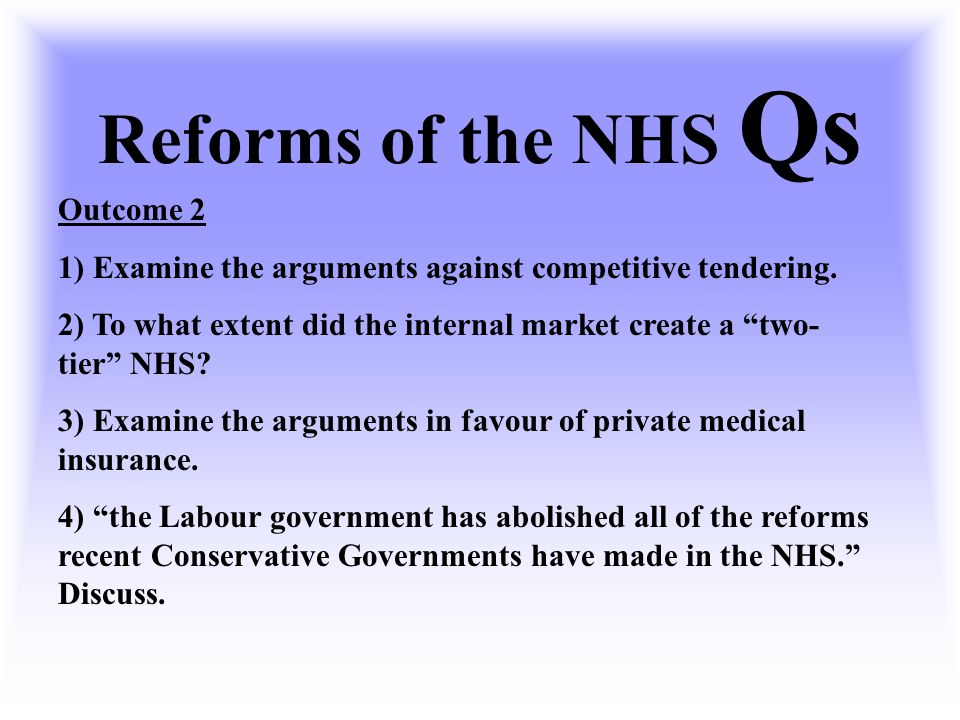 Reforms of the NHS Qs Outcome 2