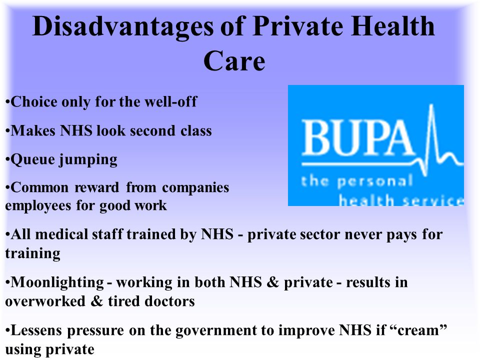 Disadvantages of Private Health Care