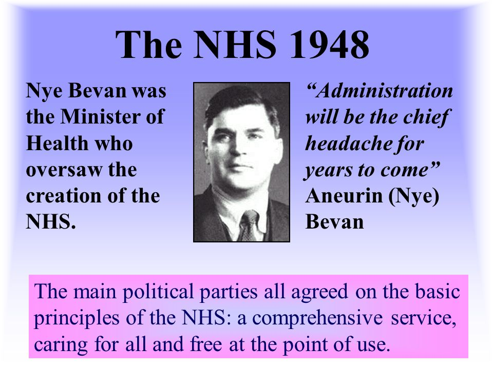 The NHS 1948 Nye Bevan was the Minister of Health who oversaw the creation of the NHS.