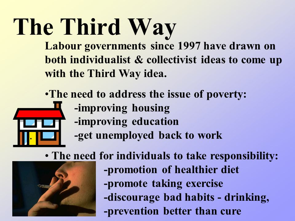 The Third Way Labour governments since 1997 have drawn on both individualist & collectivist ideas to come up with the Third Way idea.