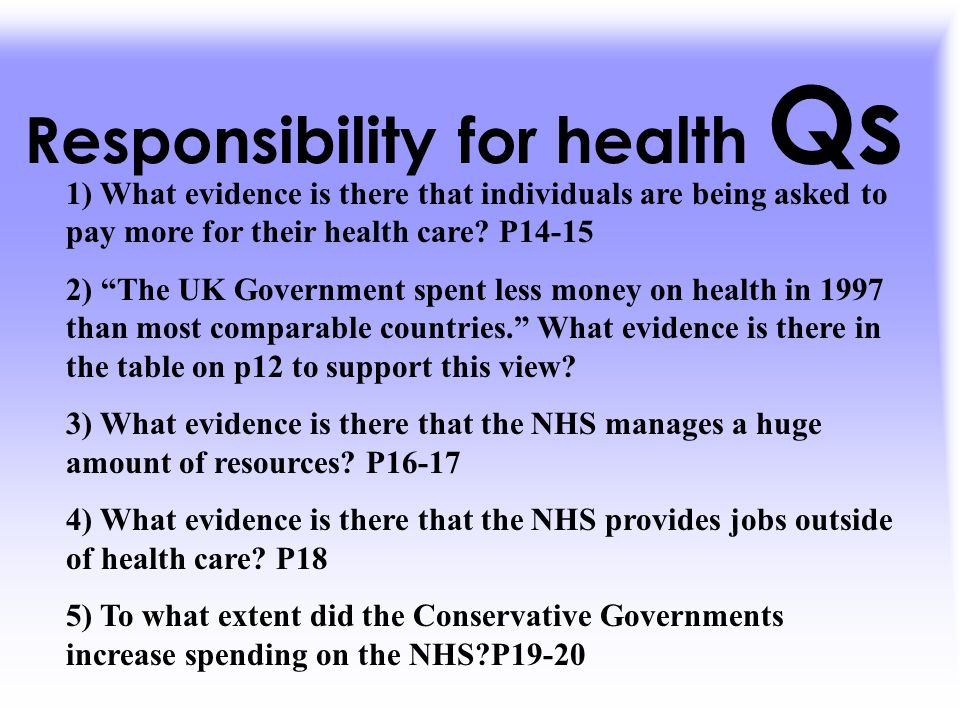 Responsibility for health Qs