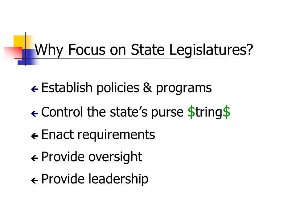 Why Focus on State Legislatures