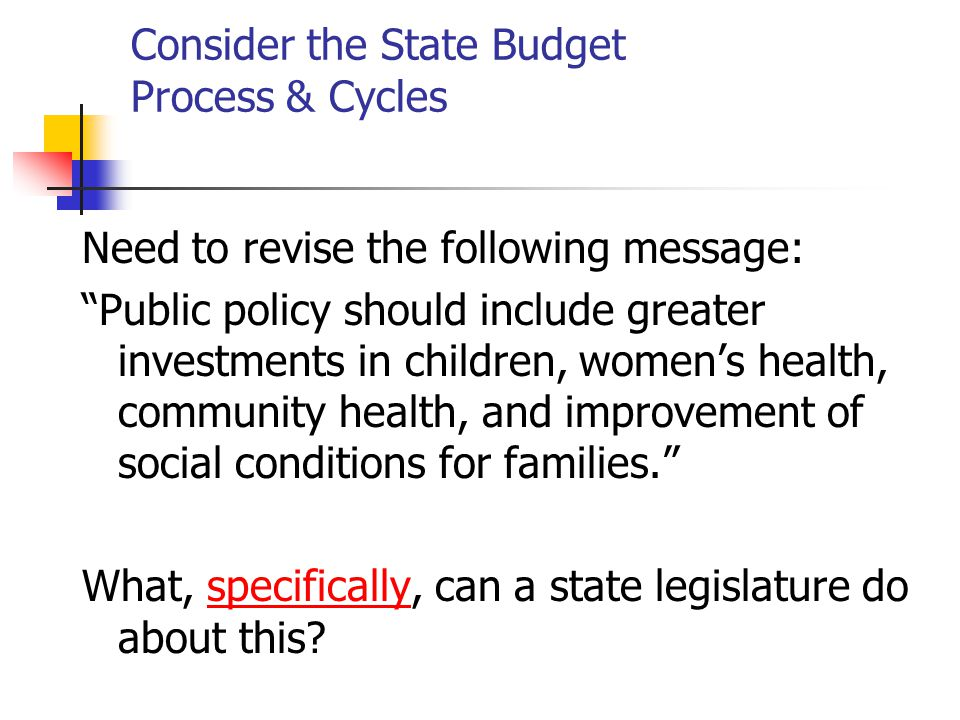 Consider the State Budget Process & Cycles