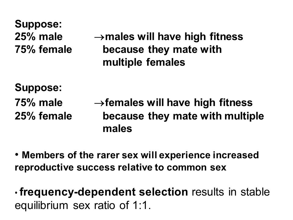 Suppose: 25% male males will have high fitness. 75% female because they mate with multiple females.
