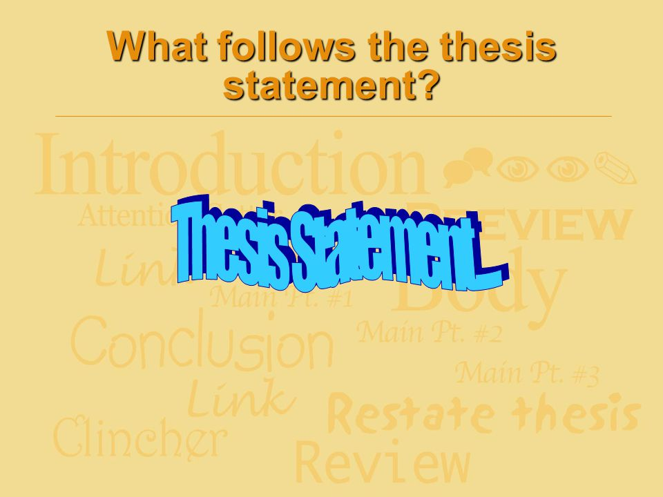 What follows the thesis statement