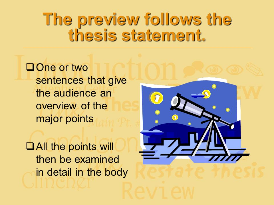 The preview follows the thesis statement.