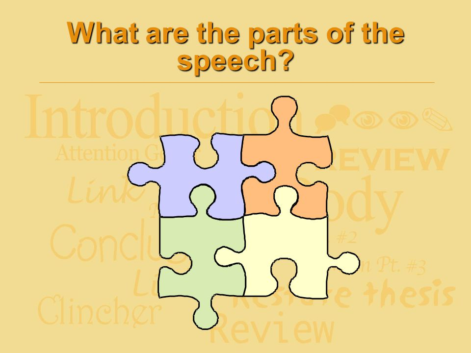 What are the parts of the speech