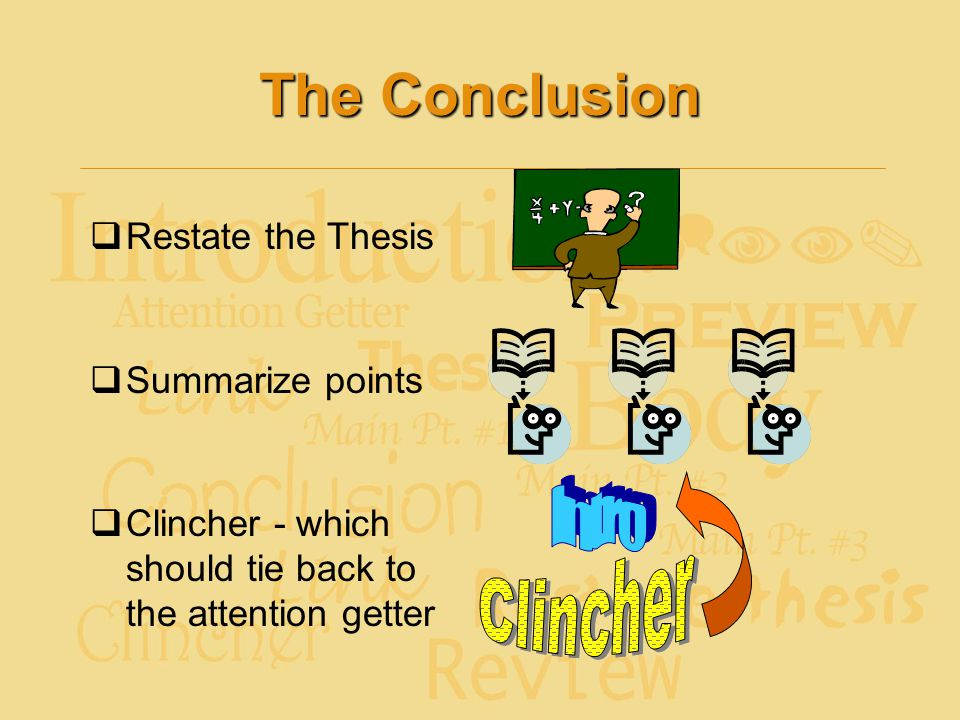 The Conclusion Intro Clincher Restate the Thesis Summarize points