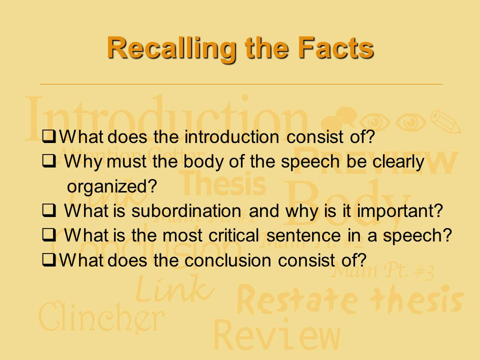 Recalling the Facts What does the introduction consist of