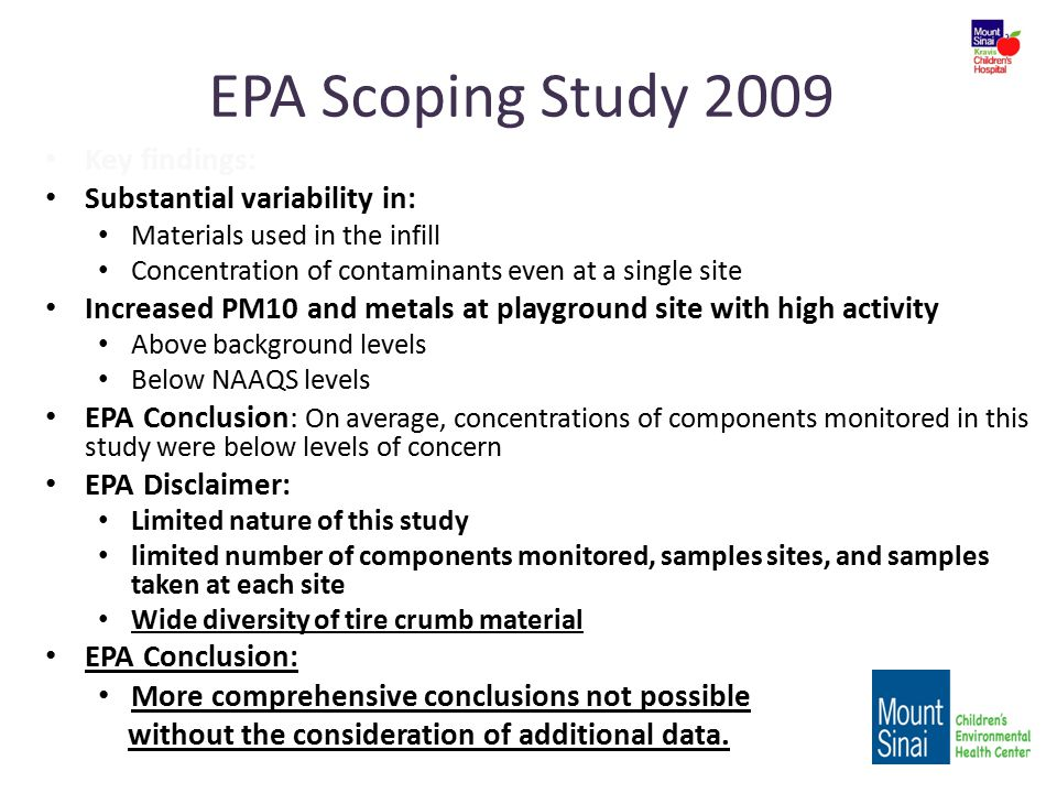 EPA Scoping Study 2009 Key findings: Substantial variability in: