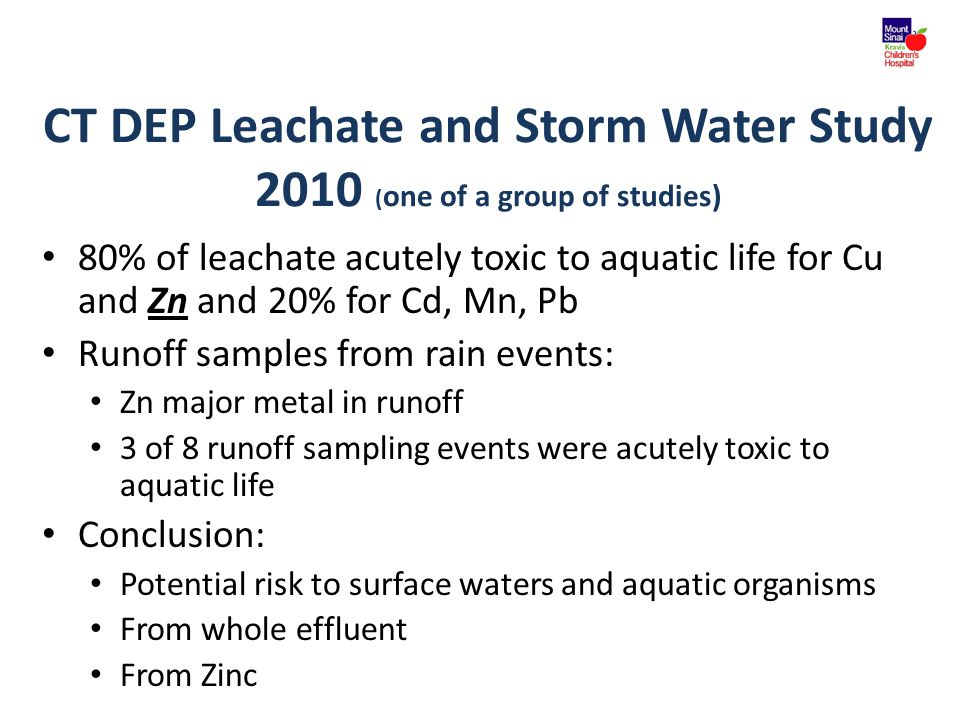 CT DEP Leachate and Storm Water Study 2010 (one of a group of studies)