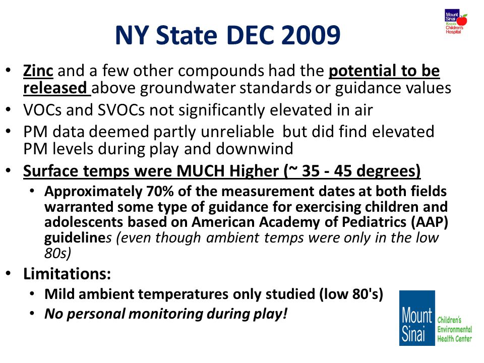 NY State DEC 2009 Zinc and a few other compounds had the potential to be released above groundwater standards or guidance values.
