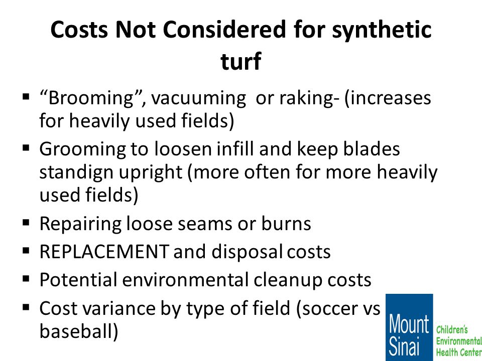 Costs Not Considered for synthetic turf