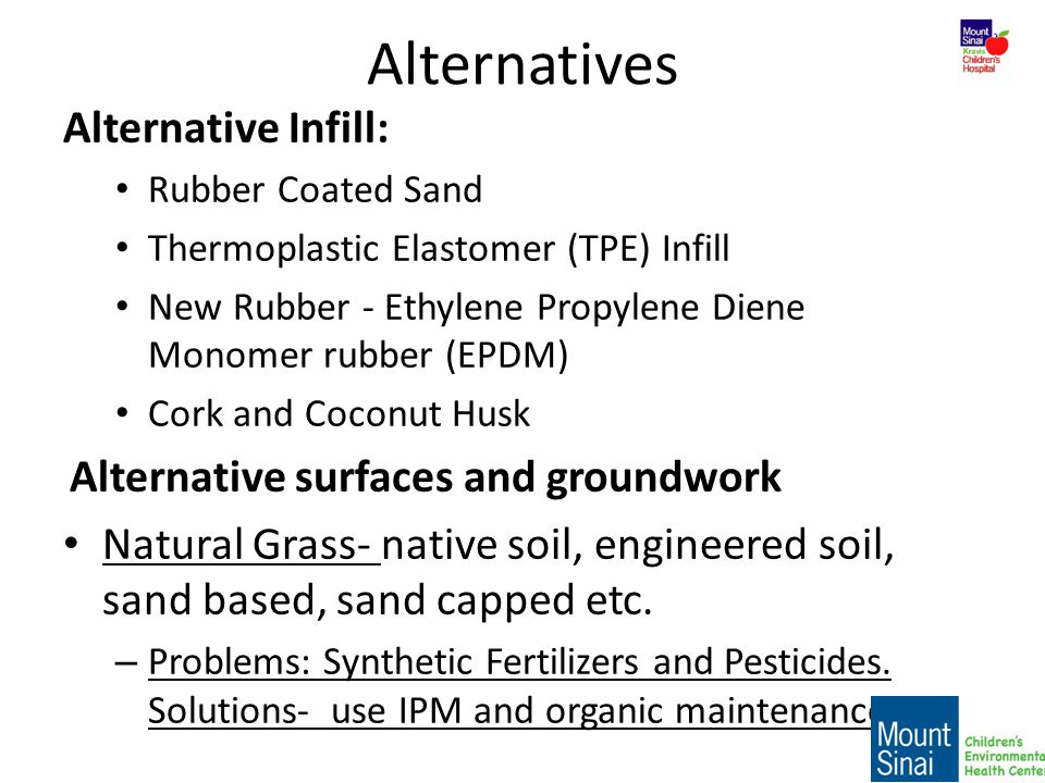 Alternatives Alternative Infill: Alternative surfaces and groundwork