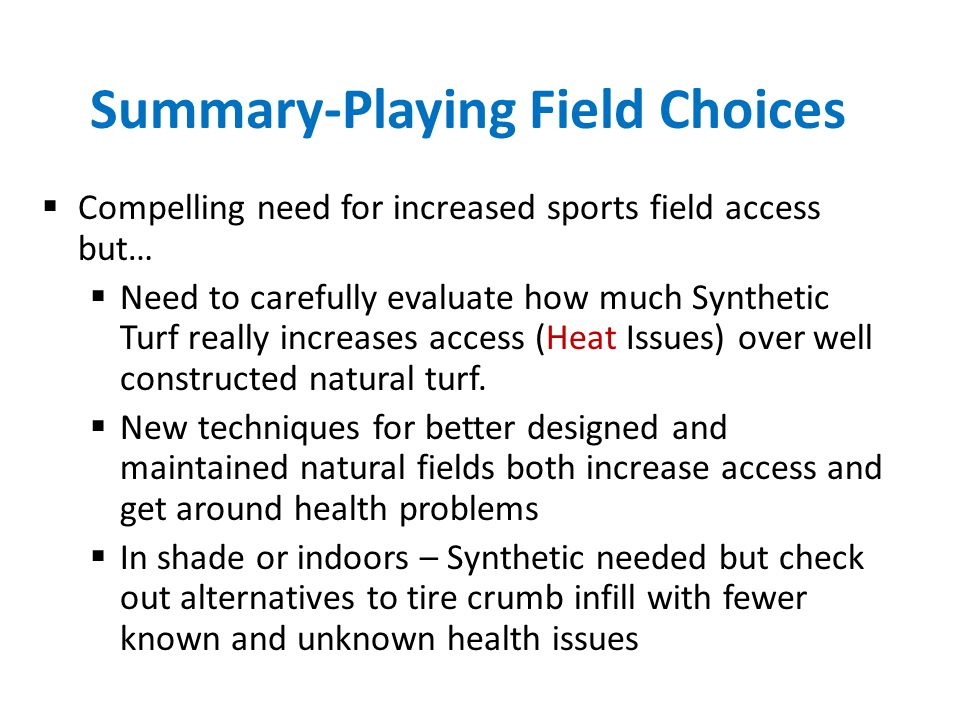 Summary-Playing Field Choices