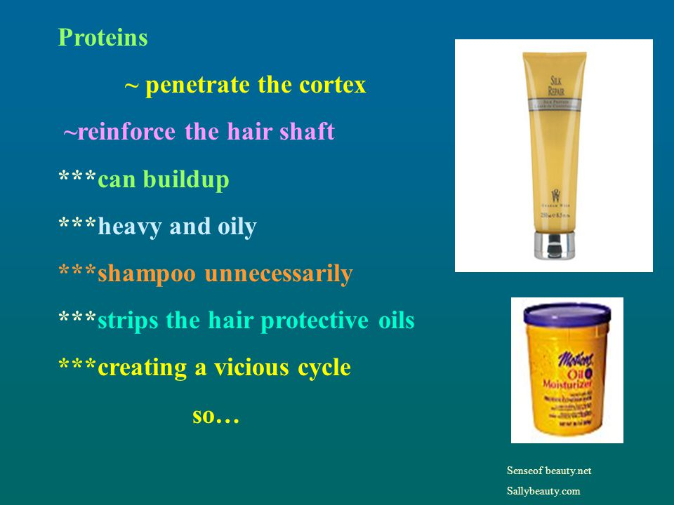 ~reinforce the hair shaft ***can buildup ***heavy and oily