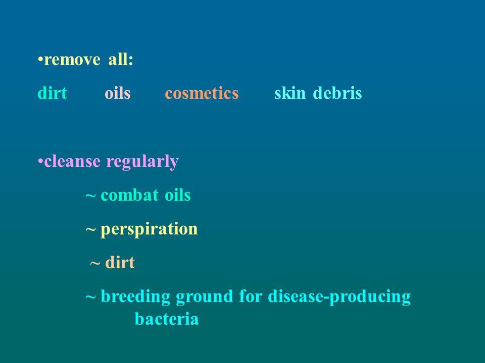 remove all: dirt oils cosmetics skin debris. cleanse regularly. ~ combat oils. ~ perspiration.