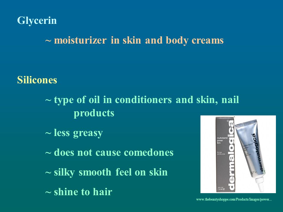 ~ moisturizer in skin and body creams