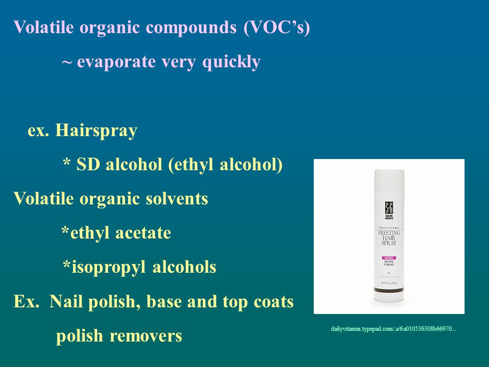Volatile organic compounds (VOC's) ~ evaporate very quickly
