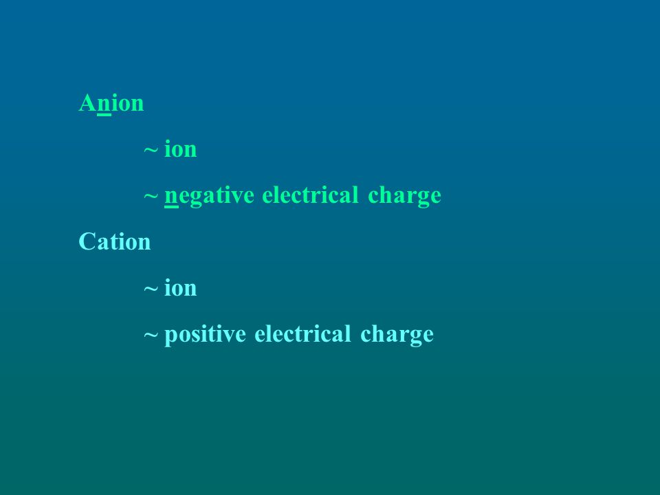 Anion ~ ion ~ negative electrical charge Cation ~ positive electrical charge