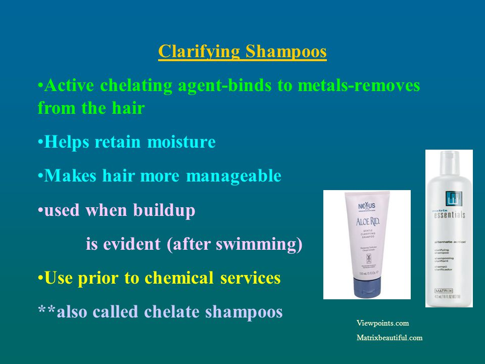 Active chelating agent-binds to metals-removes from the hair
