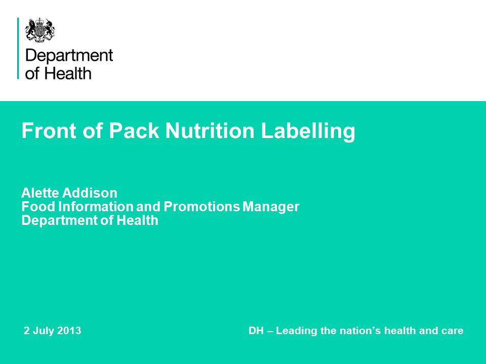2 July 2013 DH – Leading the nation's health and care