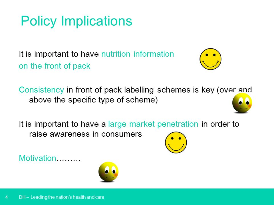Policy Implications It is important to have nutrition information