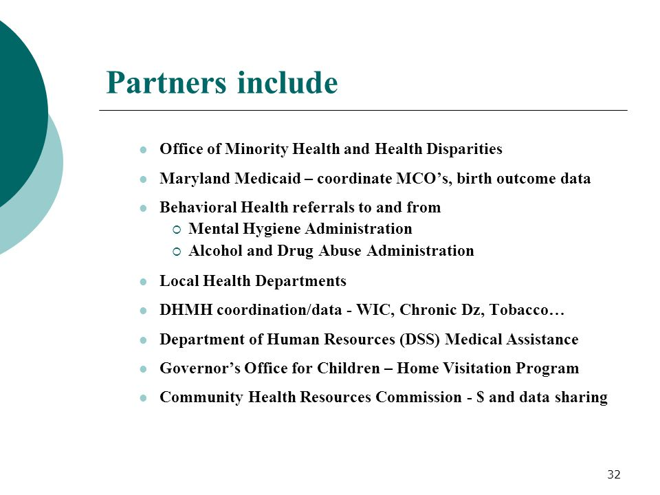 Partners include Office of Minority Health and Health Disparities