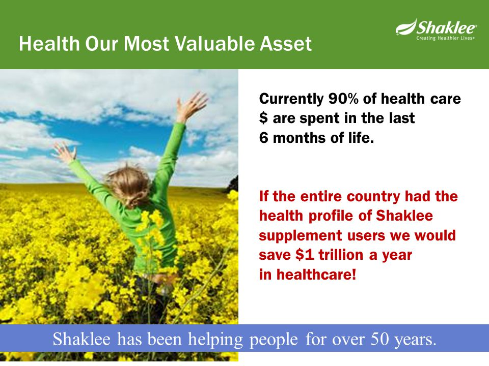 Shaklee has been helping people for over 50 years.