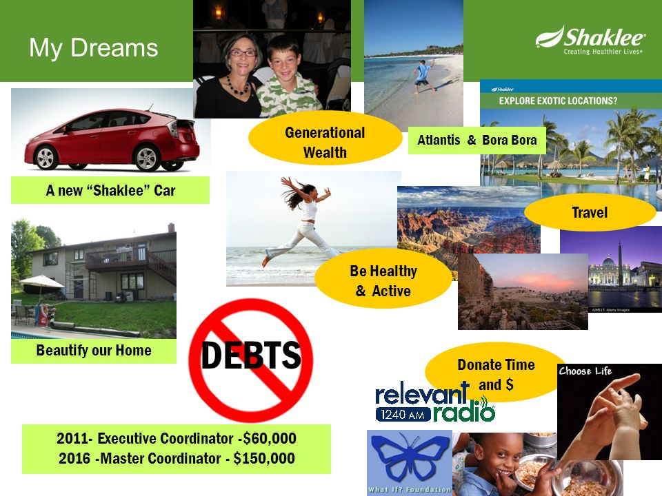 DEBTS My Dreams Generational Wealth A new Shaklee Car Travel