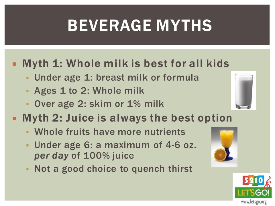 Beverage Myths Myth 1: Whole milk is best for all kids