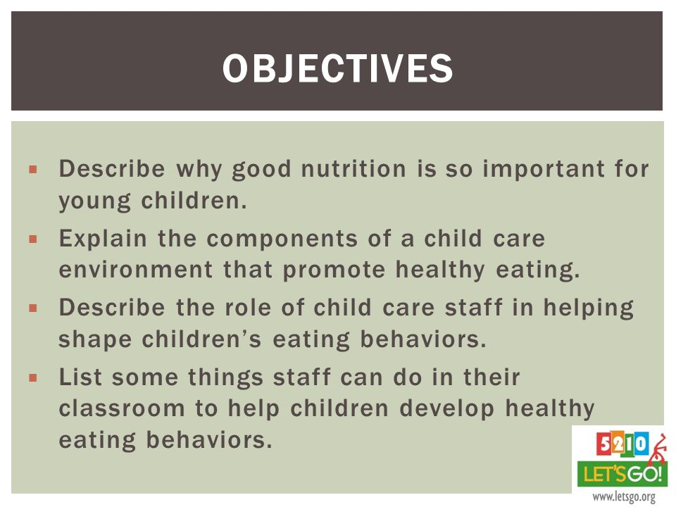 Objectives Describe why good nutrition is so important for young children.
