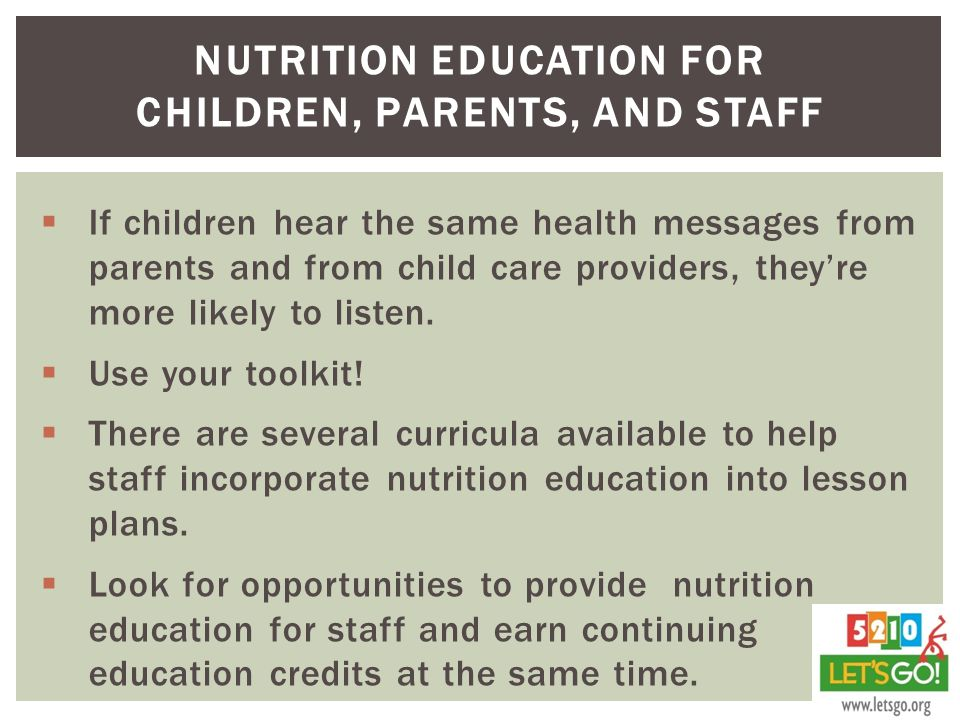 Nutrition Education for Children, Parents, and staff