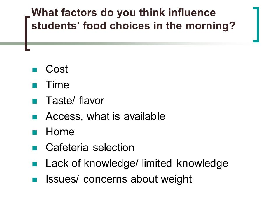 What factors do you think influence students' food choices in the morning