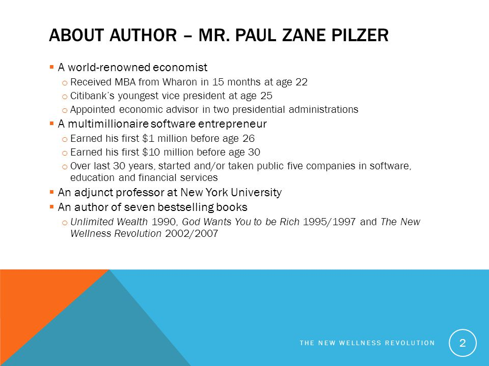 About Author – Mr. Paul Zane Pilzer